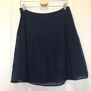 Blue J. Crew Cotton Blend Pleated Skirt. Size 8.